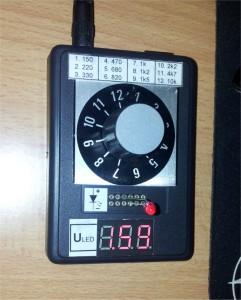 Tester LED diod - měřená dioda