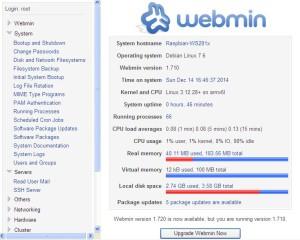 Úvodní stránka Webminu